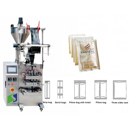 Shampoo Honey Tomato Paste Ketchup Packing Machine Square Sachet Sugar Coffee Packing Machine is suitable for sugar,seeds.comdiments,cereal,oatmeal,peanuts,candies,desiccant detergent powder and so on.  SPECIFICATIONS  Model SP-240 Subject Granule/powder/