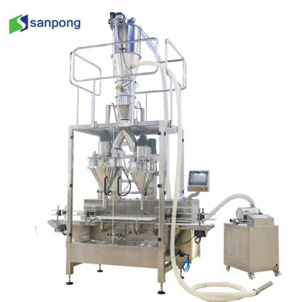 400g and 900g Milk powder Two heads filling machine vacuum nitrogen can sealing machine powder canning line
